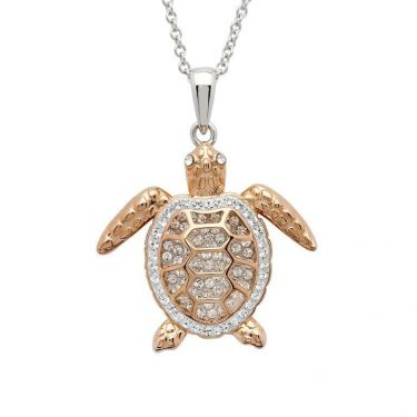 Turtle Necklace in Rose Gold and Swarovski® Crystals