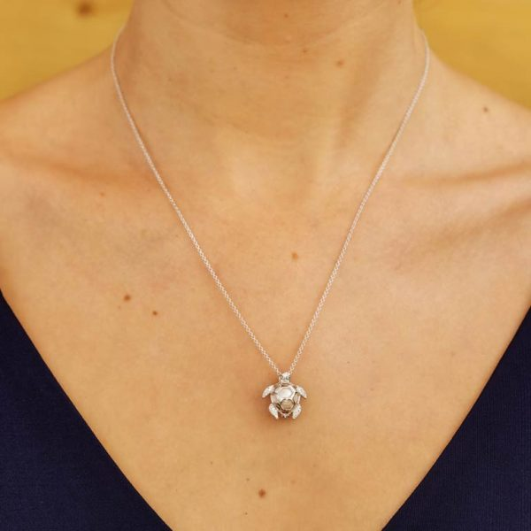 Turtle Necklace with Pearl & White Swarovski® Crystal