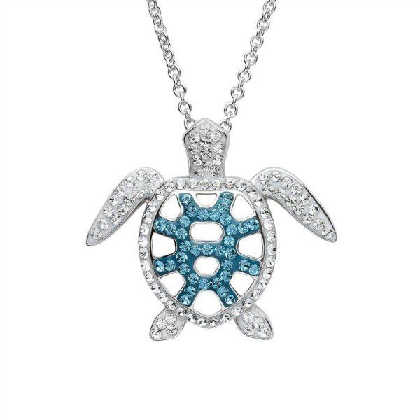 Filigree Turtle Pendant With Teal Swarovski® Crystals