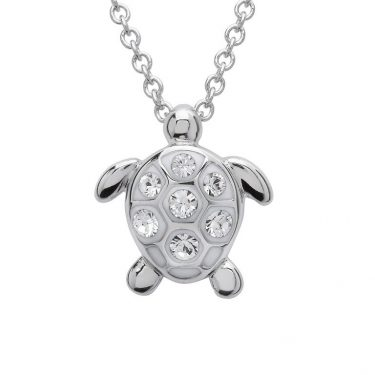 Turtle Pendant With Clear Swarovski® Crystals - Small Size