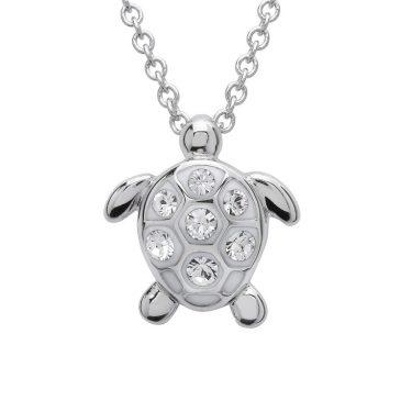 Turtle Pendant With Clear Swarovski® Crystals - Medium Size