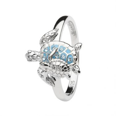 Turtle Ring Encrusted with White Swarovski® Crystal
