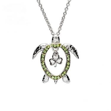 Turtle Necklace with Shamrock & Swarovski® Crystals
