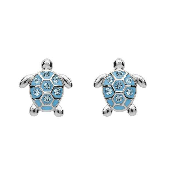 Stud Turtle Earrings with Blue Swarovski® Crystals
