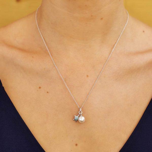 Aqua Turtle and Pearl Pendant with Swarovski® Crystals
