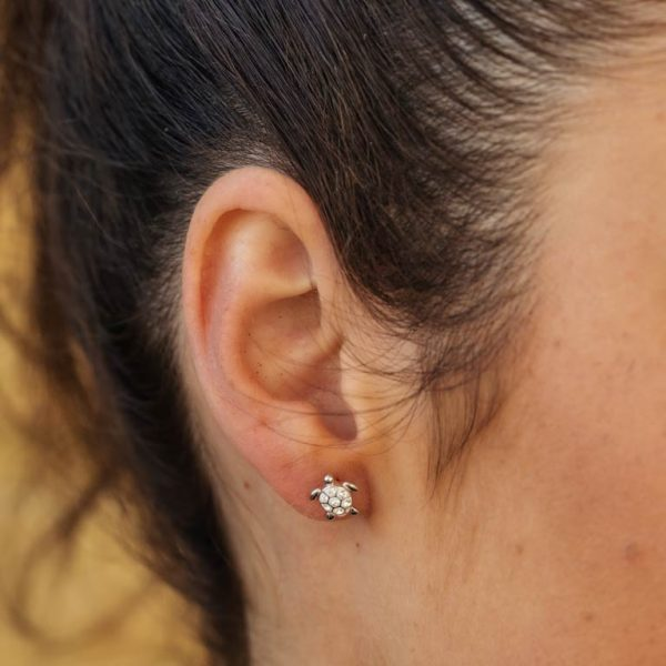 Stud Turtle Earrings with Swarovski® Crystals