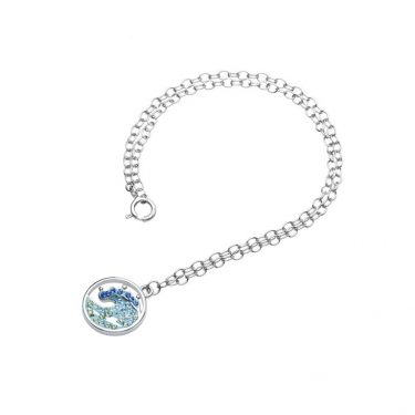 Wave Anklet with Aqua Swarovski® Crystals