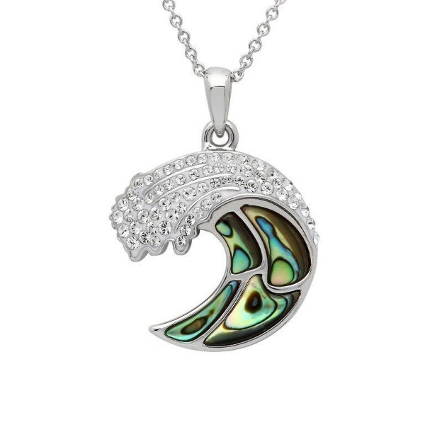 Wave Necklace Encrusted with White Swarovski® Crystal