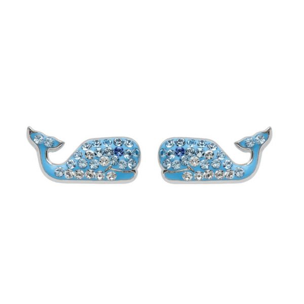 Whale Stud Earrings With Aqua Swarovski® Crystals