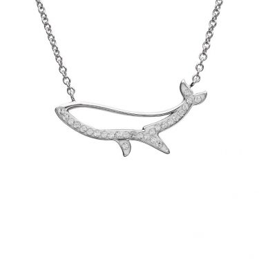 Blue Whale Necklace Silouette With Clear Swarovski® Crystals