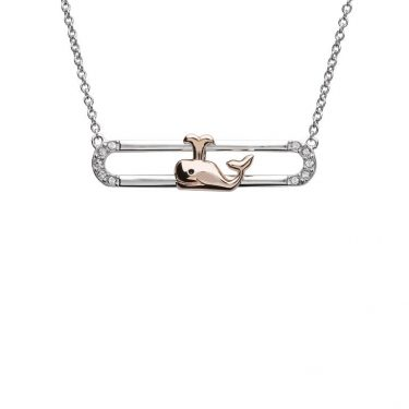 Whale Necklace Slider With Rose Gold Accent & Swarovski® Crystals