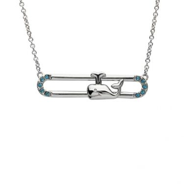 Whale Necklace Slider With Blue & Swarovski® Crystals