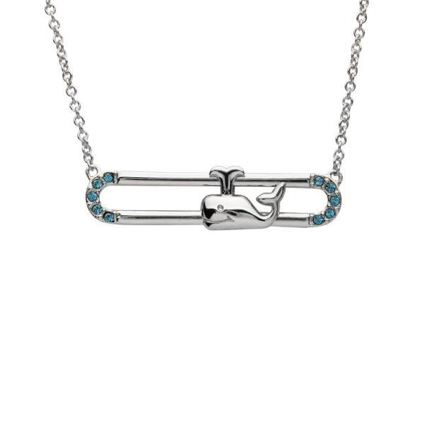 Whale Necklace Slider With Blue & Swarovski® Crystals