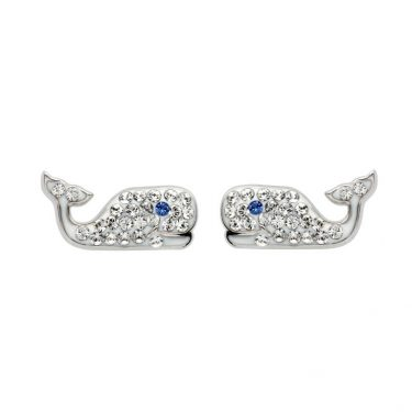 Whale Stud Earrings with Clear With Swarovski® Crystals