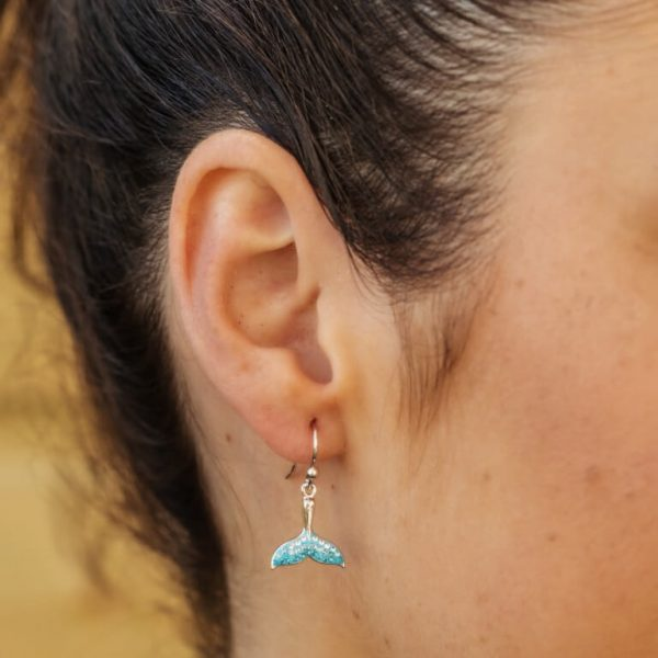 Whale Tail Drop Aqua Earrings With Swarovski® Crystals