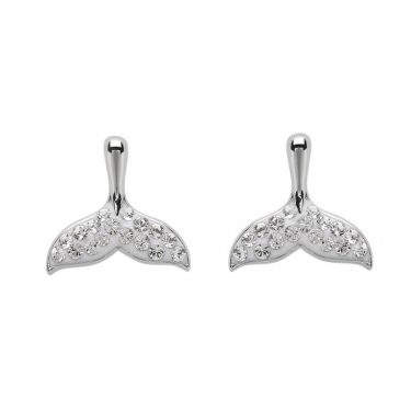 Whale Tail Earrings Stud With Swarovski® Crystals