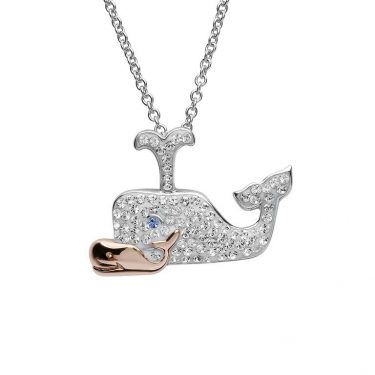 Whale necklace Mother & Baby With Swarovski Crystals