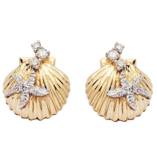 14k Gold Shell Earrings