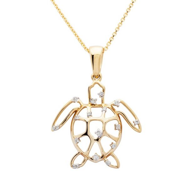 14k Gold Turtle Necklace