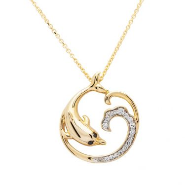 Gold Dolphin Jewelry Necklace