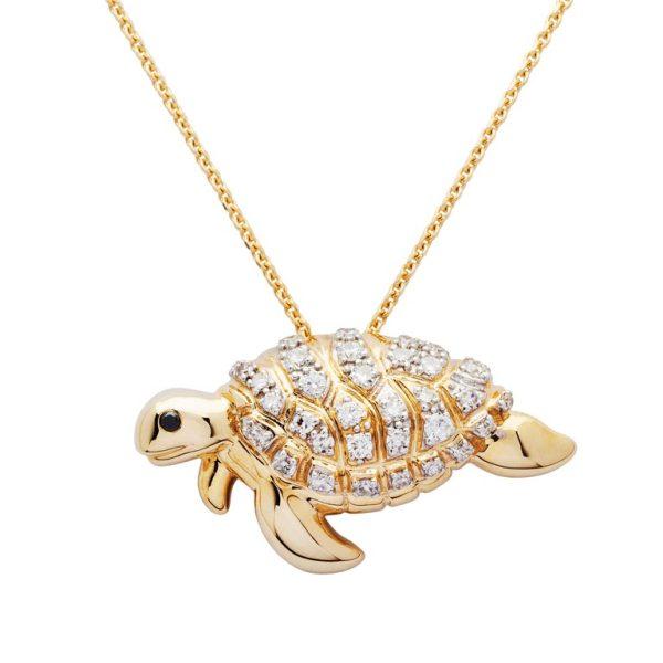 Gold Turtle Pendant Necklace