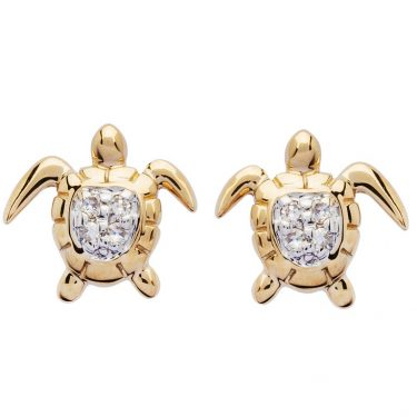 Gold Turtle Stud Earrings