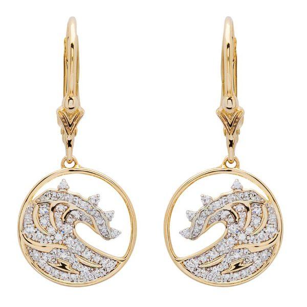 Gold Wave Earrings 14K