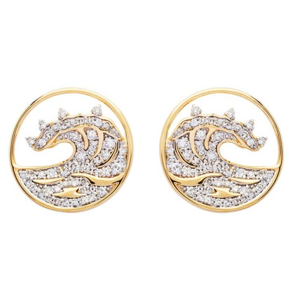 Gold Wave Earrings Stud 14K