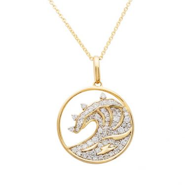 Gold Wave Necklace With Diamonds 14K