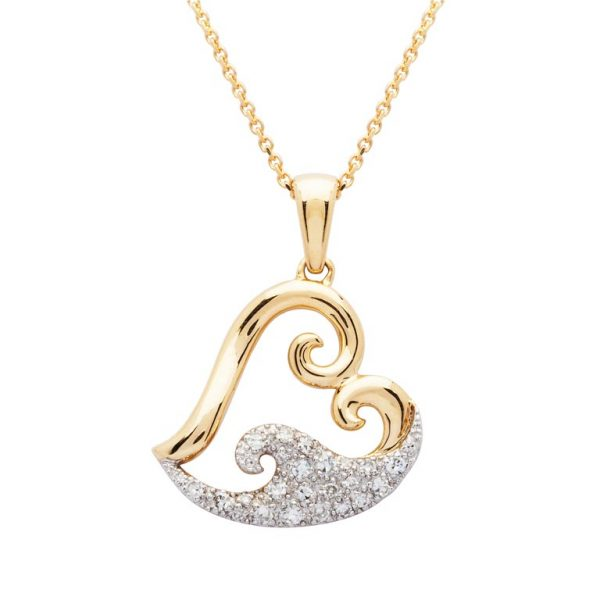 Heart Wave Necklace 14K Gold