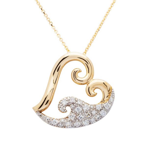 Heart Wave Pendant 14K Gold