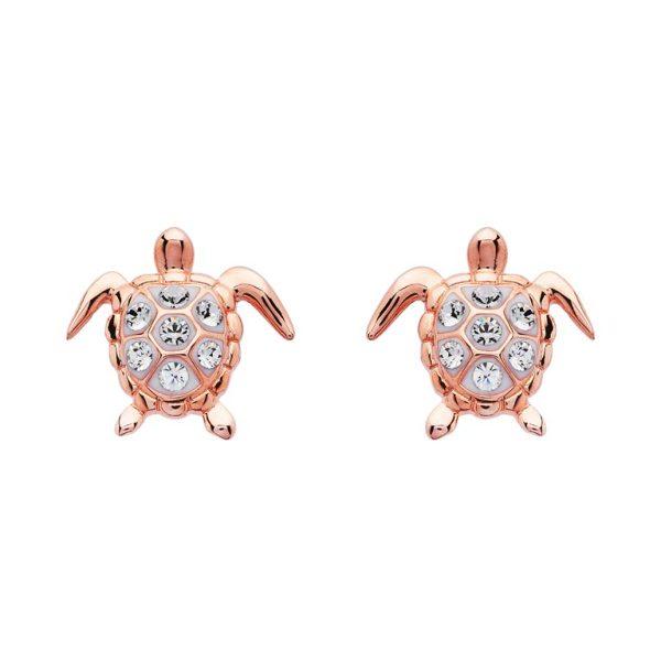 Rose Gold Turtle Earrings