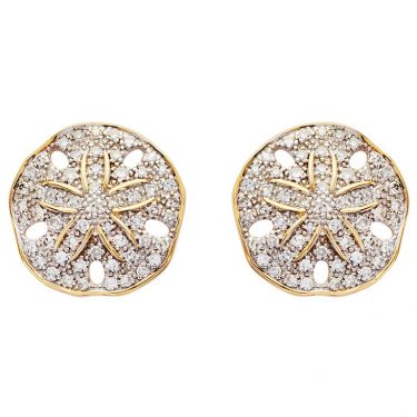Sand Dollar Stud Earrings 14K Gold