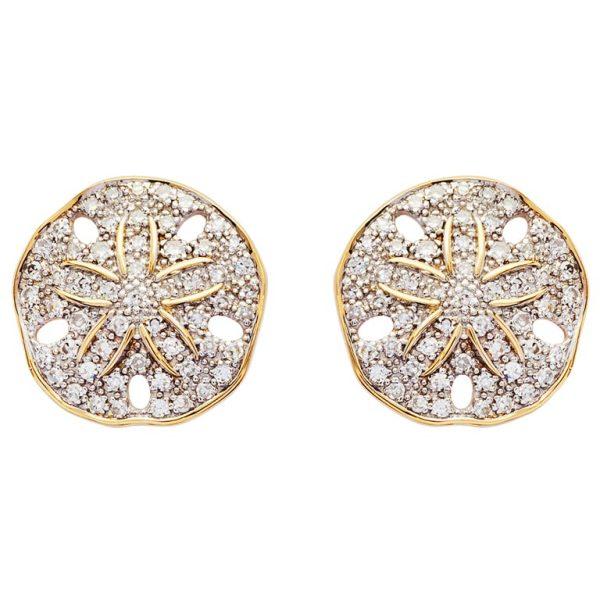 Sand Dollar Stud Earrings 14K Gold