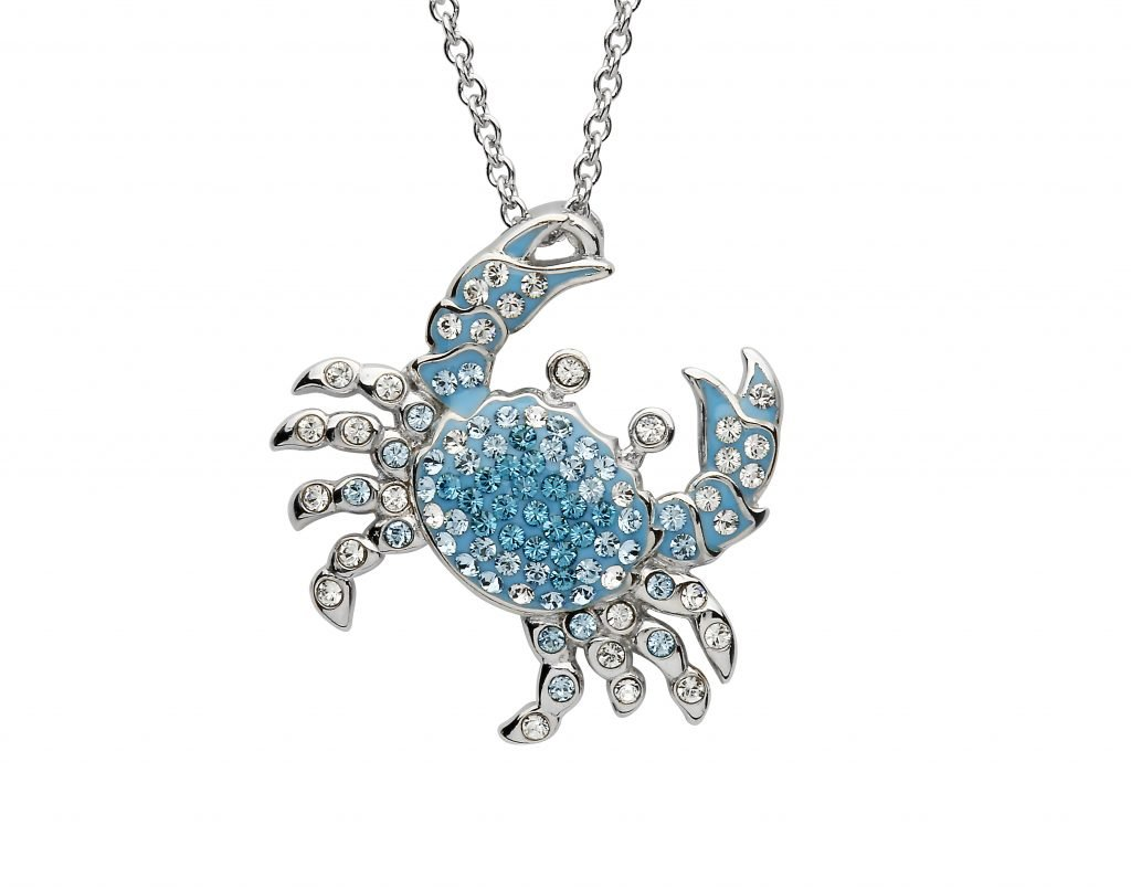 Blue Crab Pendant with Swarovski Crystals