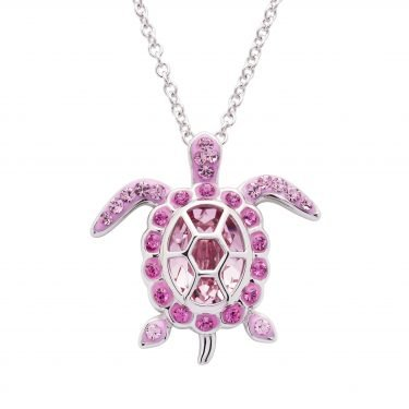 SS Swarovski October Turtle Birthstone Pendant