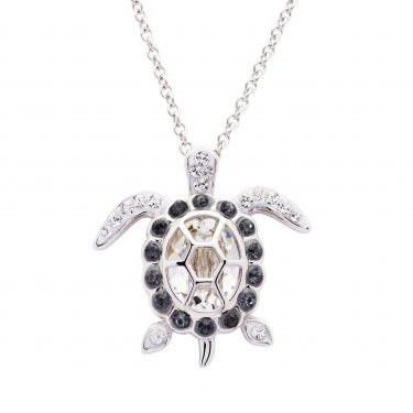SS Swarovski April Turtle Birthstone Pendant