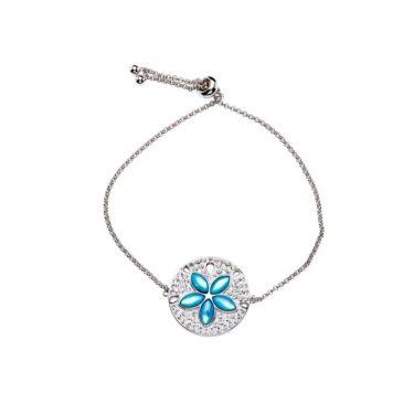 Aqua Mother of Pearl Sand Dollar Bracelet
