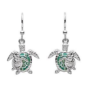 Green Turtle Drop Earrings
