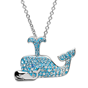 Blue Whale Necklace with sterling silver baby