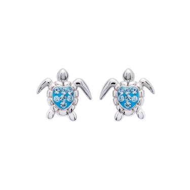 Aqua Turtle Stud Earring in Sterling Silver
