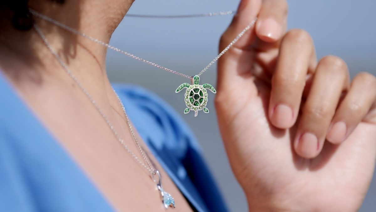 August Turtle Birthstone Pendant with Crystals