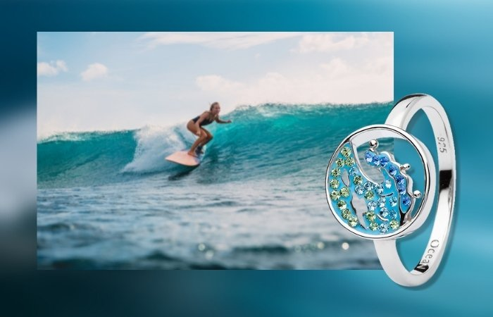 Blue Wave Ring with Aqua Crystals