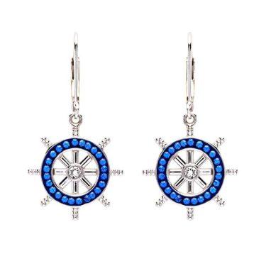 Sterling Silver Sapphire Crystal Ships Wheel Drop Earrings by Ocean Jewelry Store