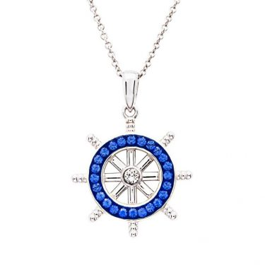 Sterling Silver Sapphire Crystal Ships Wheel Necklace by Ocean Jewelry Store