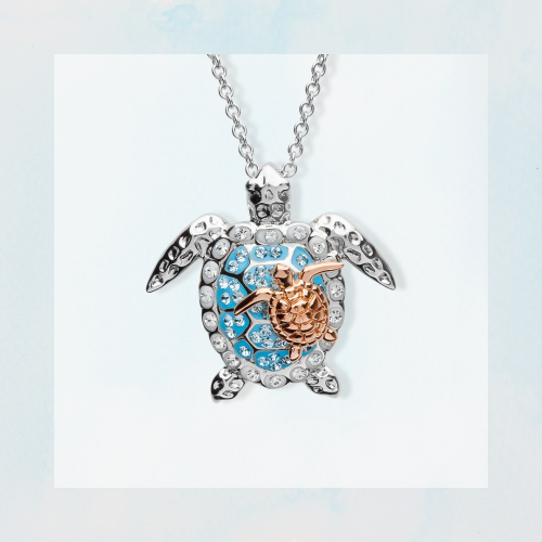 Turtle Necklace Mother & Baby With Swarovski® Crystals